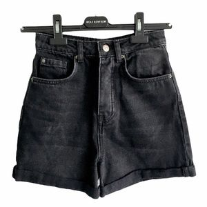 STRADIVARIUS High Waisted Black Shorts Rolled Hem